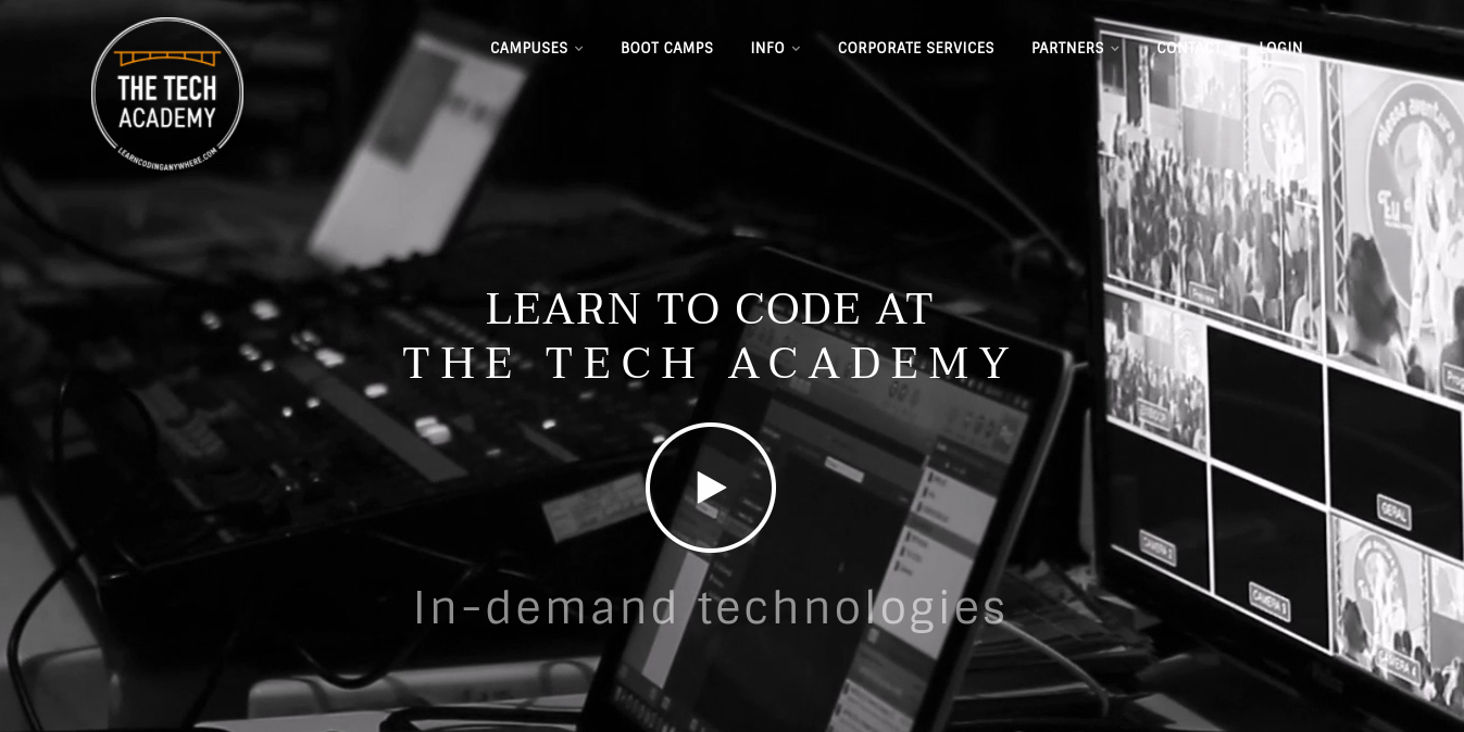 The Tech Academy website homepage.