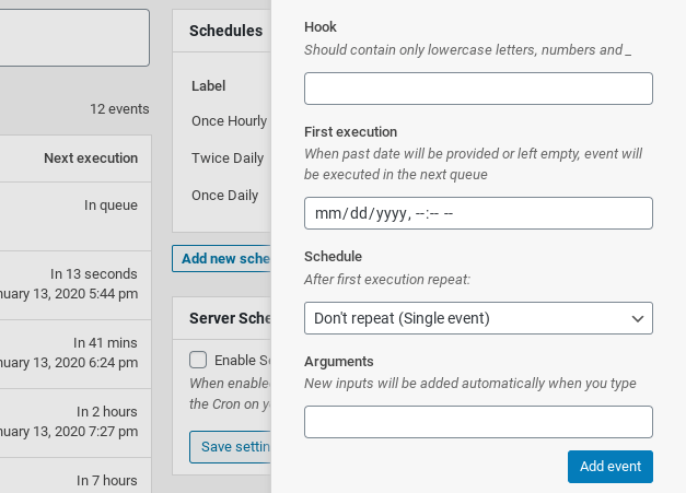 The panel to add details for a new event in the Advanced Cron Manager WordPress plugin.