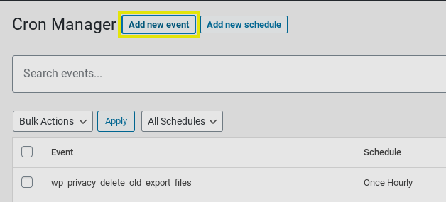 The 'add new event' button from the Advanced Cron Manager WordPress plugin.