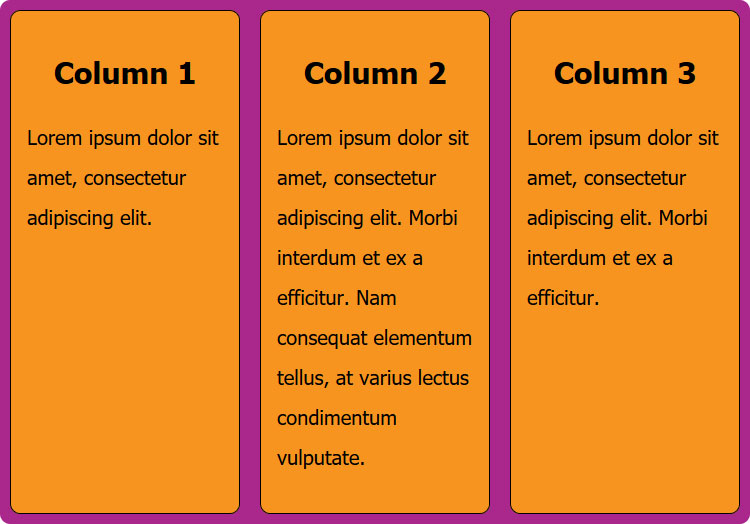 flexbox example case equal height columns