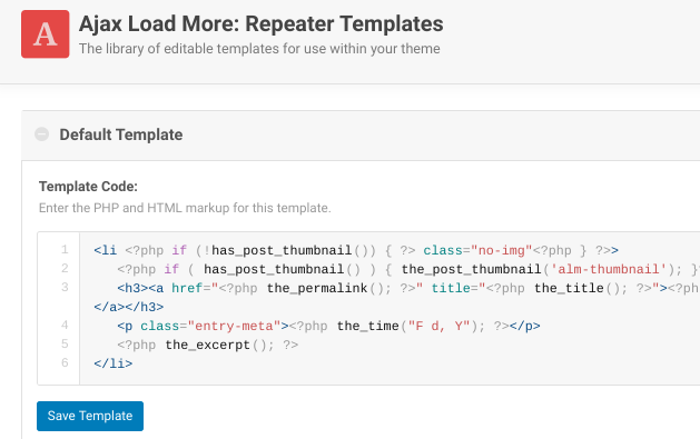 The Repeater Templates page on WordPress Ajax Load More plugin.