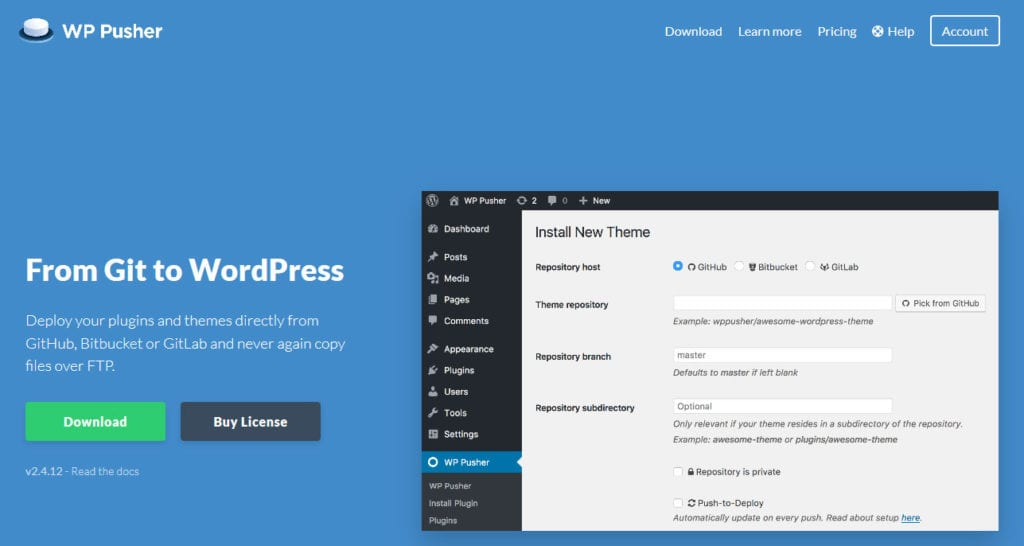 wp pusher version control software for wordpress