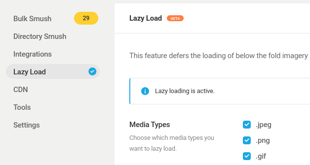 The WP Smush WordPress plugin lazy load feature from the dashboard settings.
