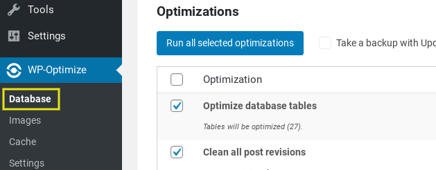 The database settings option for the WP-Optimize WordPress plugin.