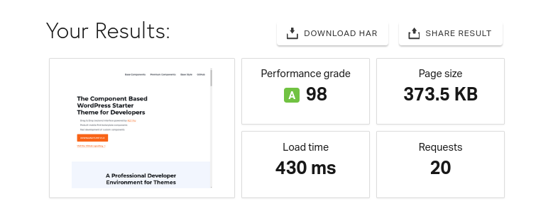 The results page of a Pingdom speed test.