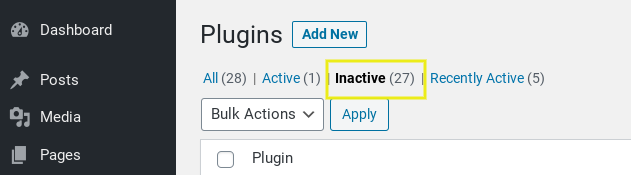 The Inactive Plugins page on the WordPress dashboard.