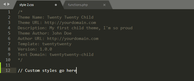 Editing a child theme's style.css file.