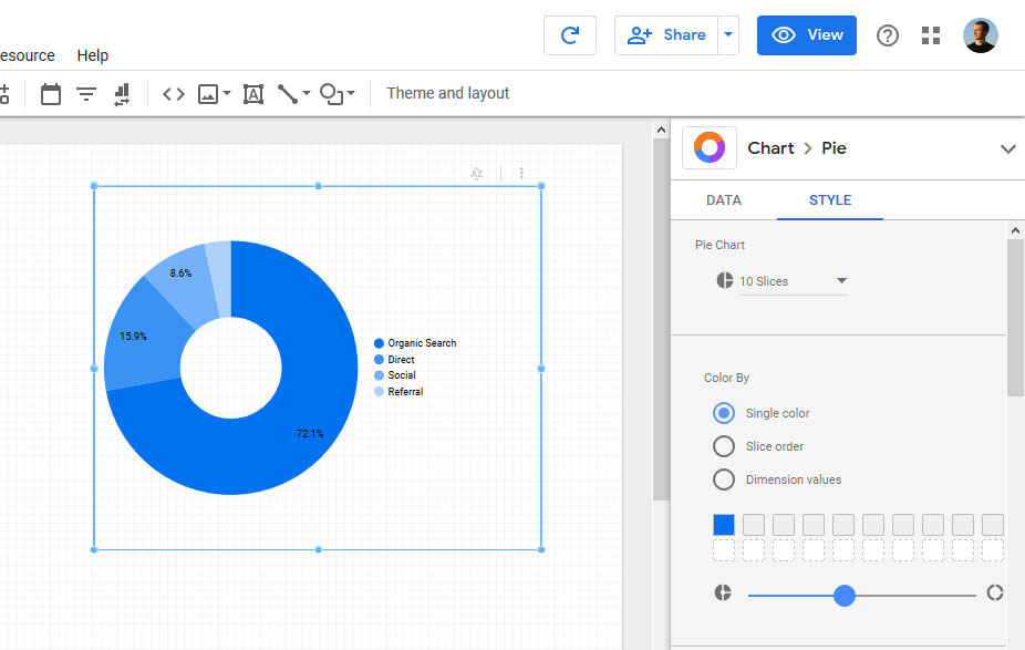 report styling options in google data studio