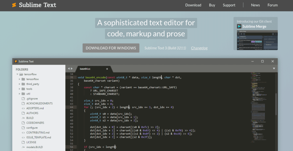 The Sublime Text website.