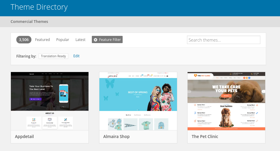 The WordPress Theme Directory with the translation-ready feature applied.