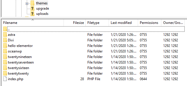 Accessing wp-content/themes via FTP with FileZilla.