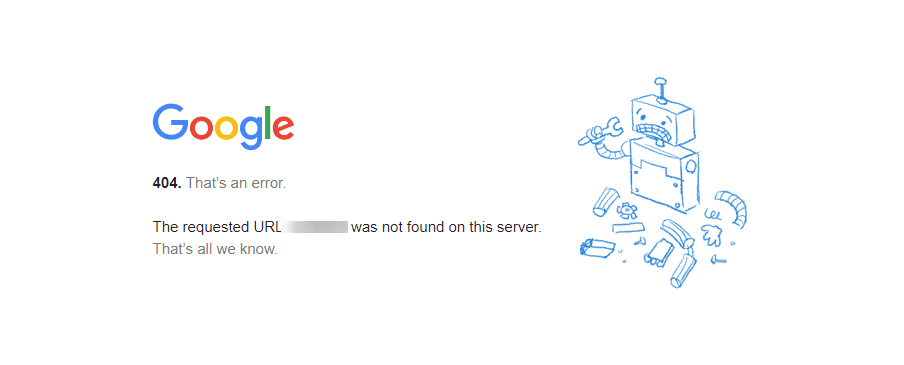 The Google 404 error.