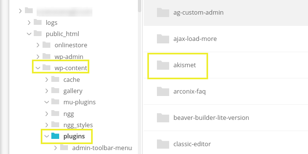 The Akismet plugin folder.