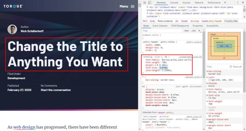 change css properties in the developer tools