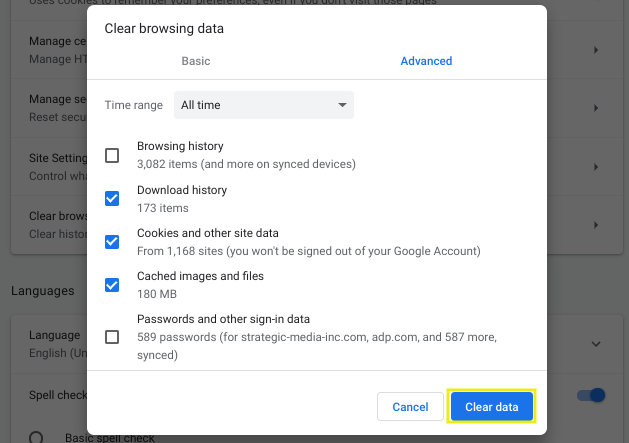 The panel in Google Chrome for clearing browsing data.