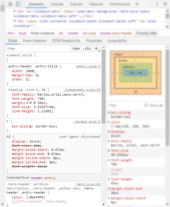 css markup in developer tools