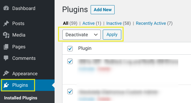 Deactivating WordPress plugins in bulk.