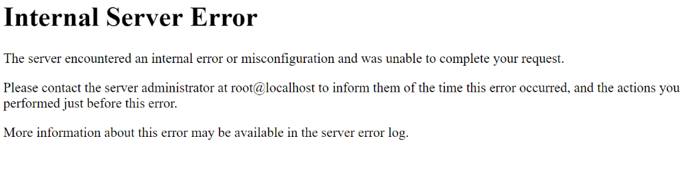An HTTP 500 Internal Server Error message.