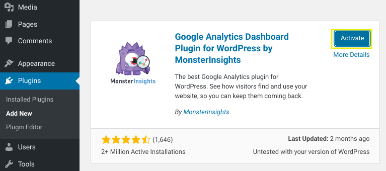 The MonsterInsights WordPress plugin.