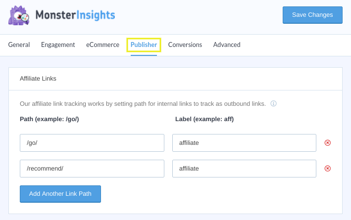 The MonsterInsights WordPress plugin settings page.