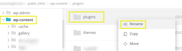 Renaming the plugins folder using the SiteGround File Manager.