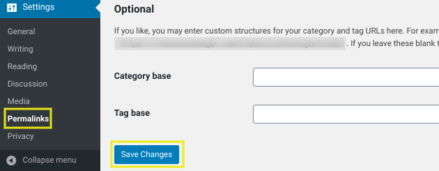 Saving WordPress permalink settings.