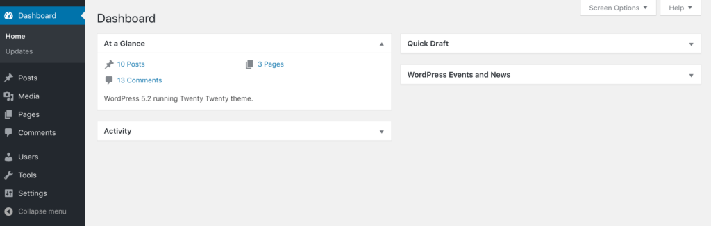 The WordPress back end with the custom Owner role and permissions applied.