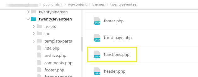 Accessing the functions.php file.