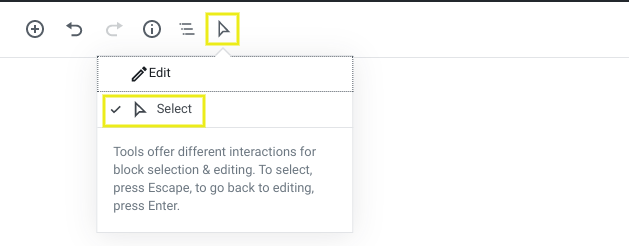 The Select tool in the WordPress Block Editor.