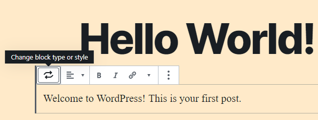 The WordPress block toolbar.