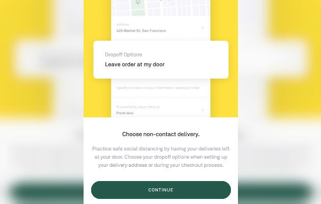 The no-contact delivery option in the Postmates app.
