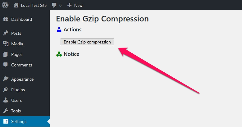 enable gzip compression wordpress plugin user interface