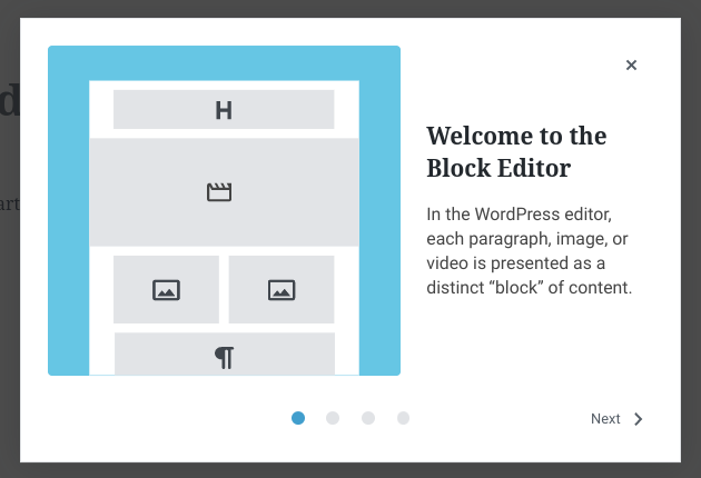 The Block Editor Welcome guide.