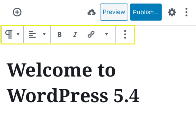The WordPress Block Editor mobile toolbar.