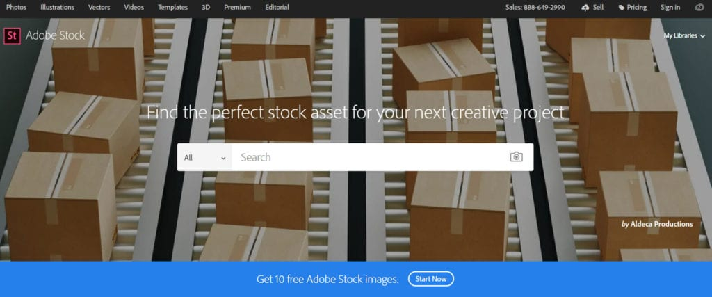 Adobe Stock homepage.