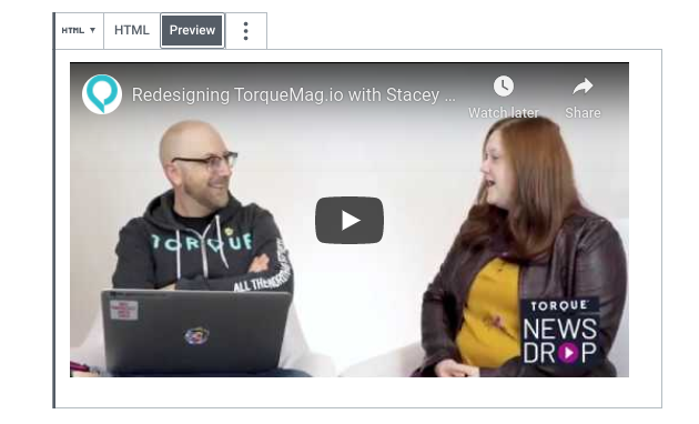 A preview of an embedded YouTube video in the WordPress editor.