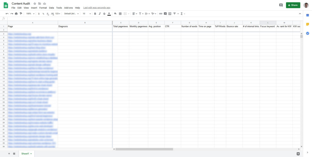 spreadsheet template for website content audit