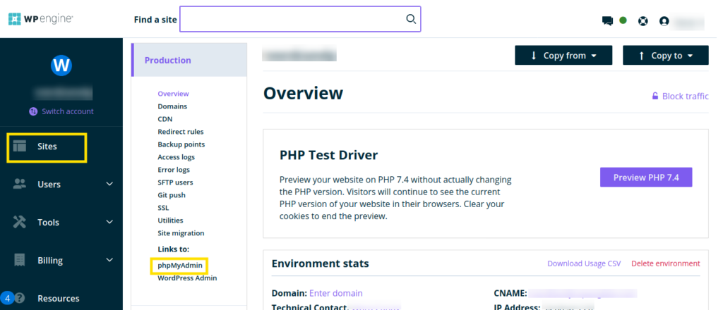 Screenshot of WP Engine user portal