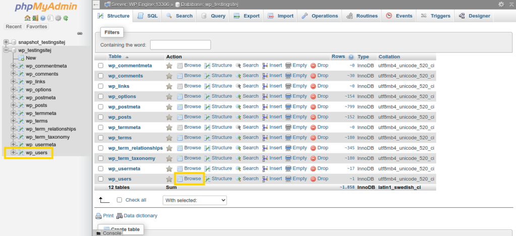 Screenshot of phpMyAdmin showing a list of database tables