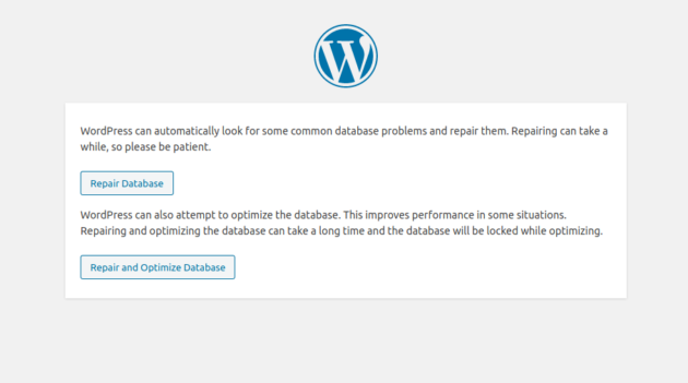 The Database Repair screen in WordPress.