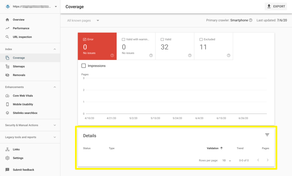 The details section of the Search Console Index Coverage Report.