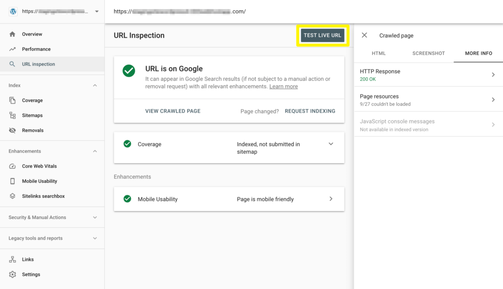 Testing a URL to determine the source of an indexing error in Google Search Console.