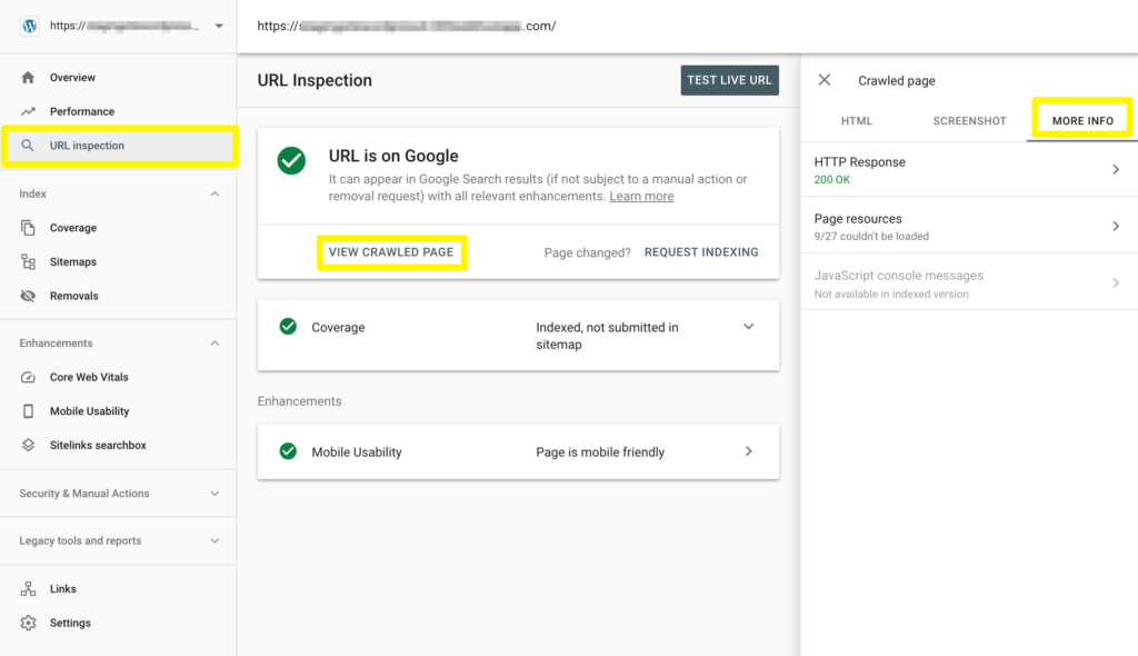 Troubleshooting a crawl issue in Google Search Console.