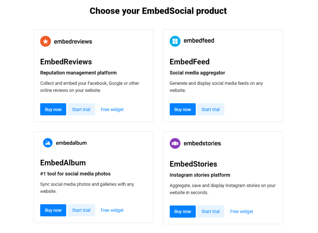 The EmbedSocial product suite.