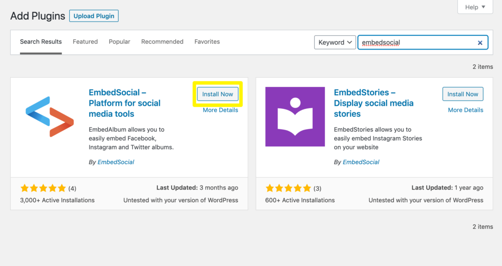 Installing the EmbedSocial plugin.