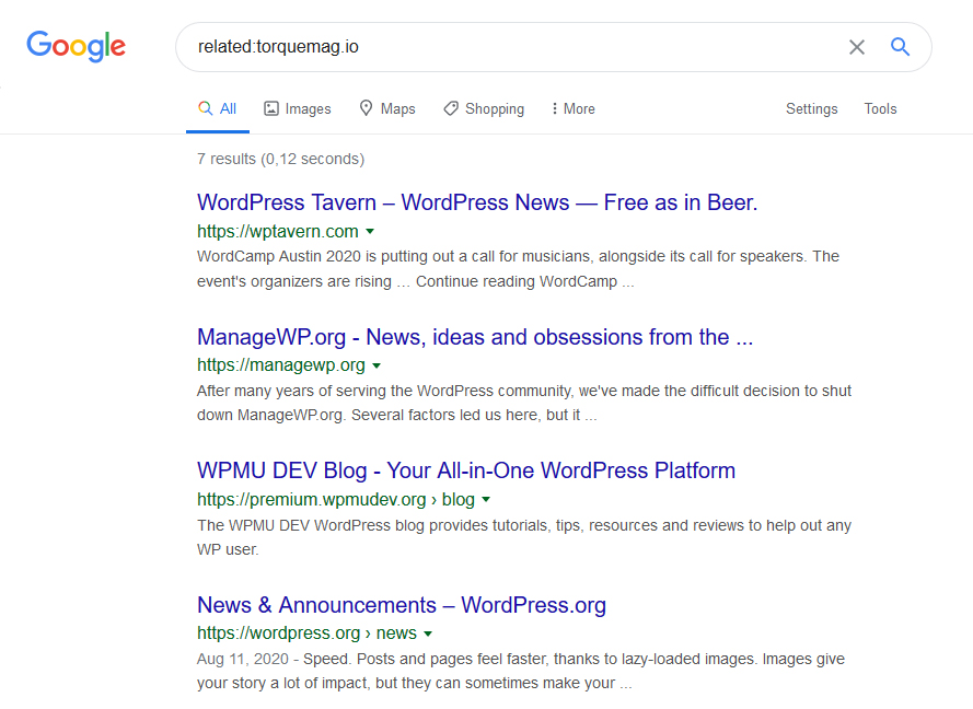 use related search operator to find competitors