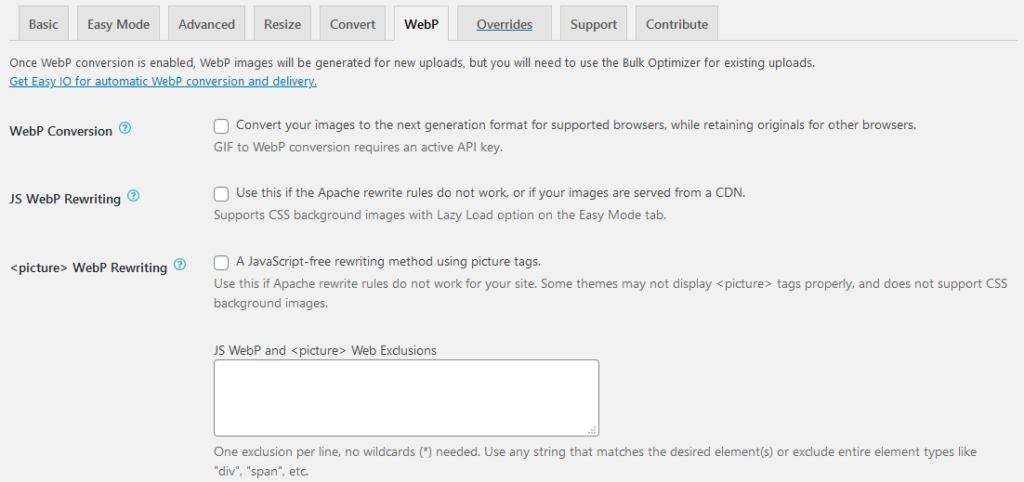 ewww webp settings
