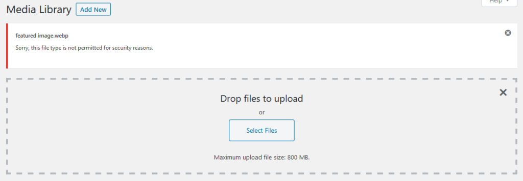 failed webp upload in wordpress media library
