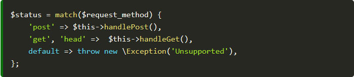 php 8 match expressions example