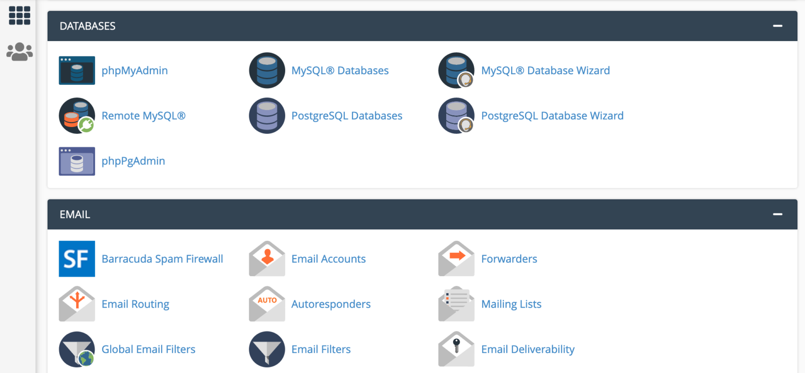 The Databases section of the cPanel dashboard.